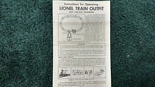 LIONEL # 1609 LIONEL TRAIN OUTFIT WITH CAM-TROL INSTRUCTIONS PHOTOCOPY