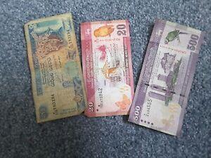 3 Sri Lankan Banknotes 500, 50 And 20 Rupees