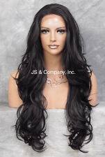Heat Safe French Full Lace Front WIG Long Wavy Off Black Hairpiece  WBKM 1B NWT