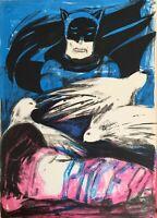 Sarai Sherman litografia 1969 Colombe pace e Batman 65x46 firmata numerata
