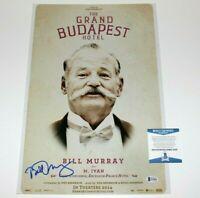 BILL MURRAY SIGNED 'THE GRAND BUDAPEST HOTEL' 12x18 MOVIE POSTER BECKETT COA BAS