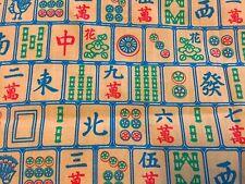 RPF08A Mahjong Chinese Games Asian Asia RARE VTG NOS Cotton Quilt Fabric