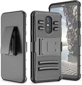 For LG Stylo 4 / 4 Plus Rugged Phone Case Belt Clip Holster+Black Tempered Glass