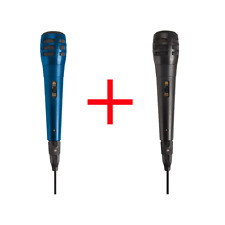 2 Microphones Dynamique à Fil = 1 X Couleur Noir + 1 X Couleur Bleu