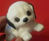 VINTAGE JOSEPH ORIGINALS PUPPY DOG FLOCKED CERAMIC FIGURINE JAPAN C1