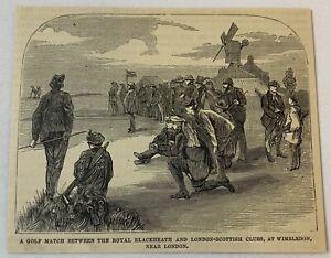 1877 magazine engraving ~ WIMBLEDON GOLF MATCH Royal Blackheath/London-Scottish