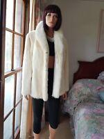 Vintage Genuine Prestine Bridal Tourmaline Ivory Mink Fur Jacket Coat Sz 14 Mint
