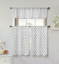 "Gray & White 3 Pc Small Curtain Set: Hearts, Valance, 2 Tiers 36""L, 100% Cotton"