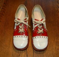 074dddecef63 Vintage 1960 s Womens Leather Saddle Shoes Red   White ...