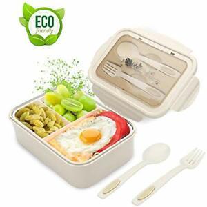 LAKIND Lunch Box, Porta Pranzo, 1400ml Kids Bento Box con 3 Scomparti e Posate