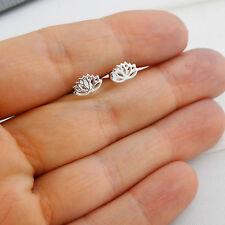 Lotus Flower Stud Earrings - 925 Sterling Silver - Flowers Yoga Namaste Post NEW