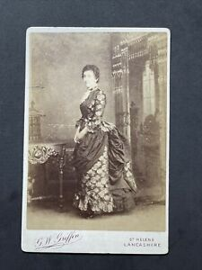 Victorian Cabinet Card: Elegant Lady Gown Bookcase Furnishings: Griffin Lancashi