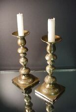 "Pr Norblin & Co Brass 9"" Shabbat Candlesticks Warszawa, Poland 1890 Art Nouveau"