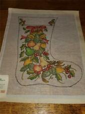 Vtg Kappie Originals Painted Needlepoint Canvas Christmas Stocking Fruit Bells