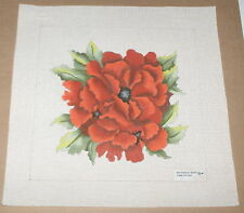 """Bettieray """"Poppies"""" Red Flowers Handpainted Needlepoint Canvas"""