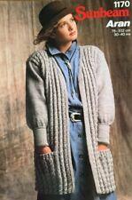"Sunbeam Aran Knitting Pattern Ladies Cardigan Jacket Size 30/40"""