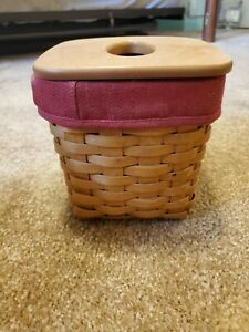 Longaberger 2002 TALL TISSUE Basket Combo w/ Lid Protector and liner signed
