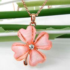 Navachi Pink Acetate Four Leaf Clover Leaves Flower 18K GP Crystal Pendant B6335