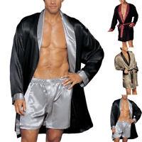 Hommes Pyjama satin de soie Ensemble peignoir Cape Vêtements de nuit à Ensemble