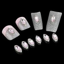 10PCS Lots Crystal Rhinestone Rose Bud Design Nail Art Manicure Decor Jewelry FT