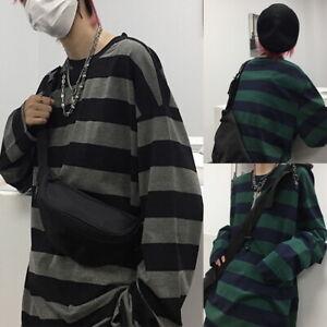 Oversized Men Stripe T-shirt Long Sleeve Retro Fashion Clothes Streetwear Unisex