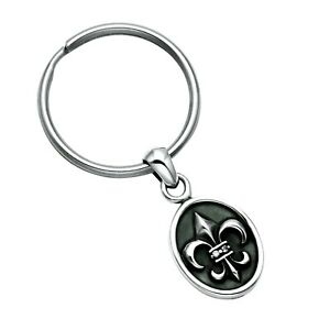 Sterling Silver Fleur De Lis Key Ring Fob with White Crystal - KR34