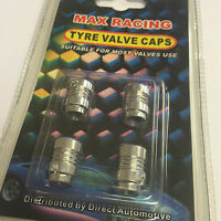 4 x Max Racing Car, Van & Bike Alloy Wheel Tyre Valve Cover Dust Caps - Silver