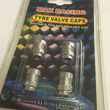 4 X MAX voiture de course, Van & Vélo Alliage Roue pneu Valve Cover Dust Caps-Argent