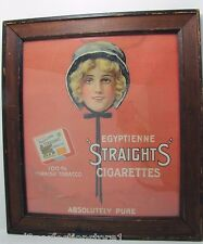 """Antique Egyptienne """"Straights"""" Cigarettes Adv Sign wood adv frame circa 1920-30s"""