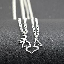 2pcs/set Hand Cut Coins Buck and Doe Kissing Heart Shape Pendent Necklace Set