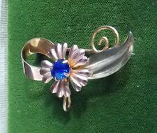 Star Art 12k Rose Yellow Gold Filled Flower Sapphire Glass Brooch Watch Holder