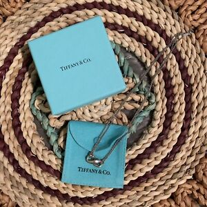 "Tiffany & Co Sterling Silver 925 Infinity Pendant Necklace 16"" w box and pouch"