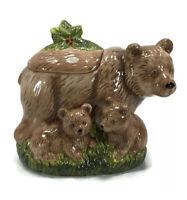 Cracker Barrel Bear Cookie Jar Earthenware by Susan Winget Momma Bear & Cubs EXC