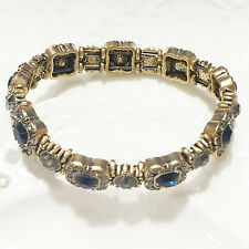 Turkish Vintage Round Blue Sapphire Clear Topaz Tennis Bracelet Jewelry VB11
