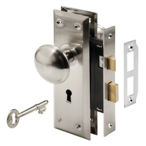 Prime-Line E 2330 Mortise Keyed Lock Set with Satin Nickel Knob – Perfect for