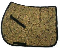 """SALE    """"SAGE GREEN WITH GOLD SWIRL"""" CHENILLE  ENGLISH SADDLE PAD - baroque"""