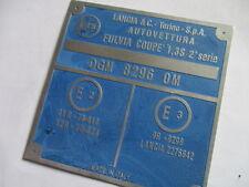 TARGHETTA LANCIA Plate ALU-SCUDO FULVIA COUPE 1,3 S 2. SERIE ID-plate s29