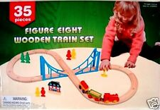 FIRST LEARNING TOYS,KIDS 35-PIECE FIGURE EIGHT WOODEN TRAIN SET & ACCESSORIES,3+
