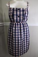 ANTHROPOLOGIE Maeve  navy blue grid picnic dress size L(DR400)