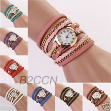 Fashion Women Stainless Steel Leather Strap Braided Quartz Bracelet Wrist Watch