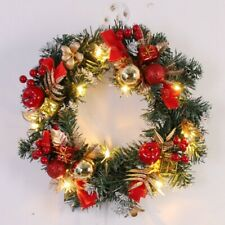 Spruce Christmas Wreath With LED Light Front Door Hanging Garland Holiday Home
