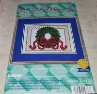 """2000 JANLYNN THE SPIRIT OF CHRISTMAS """"WREATH"""" COUNTED CROSS STITCH KIT"""