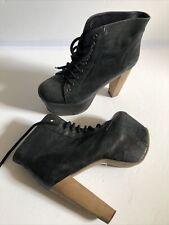 JEFFREY CAMPBELL Lita Black Leather Very High Platform Ankle Boots Fetish Sz 6