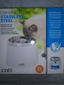 CATIT STAINLESS STEEL PET DRINKING WATER FOUNTAIN  - 2L (64 fl oz)