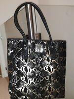 Biba Iconc Large Gold Metallic Snakeskin Suede Shopper Handbag.BNWT RRP £199