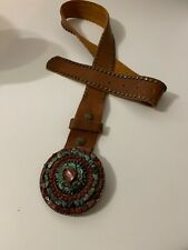 LEATHEROCK Studded Leather Brown Belt With Turquoise And Marroon Stoned Buckle M