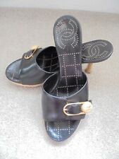 CHANEL GORGEOUS MULES SIZE 37.5 BLACK LEATHER