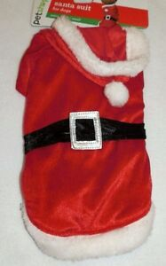 New Dog size XS/Small Santa Suit Costume Red White Faux Fur Christmas w/Hood
