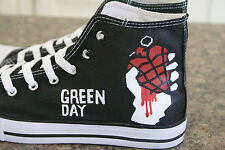 green day,inspired  hand painted canvas high tops made to order new in box