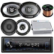 "Kenwood Car Bluetooth Radio w/ 2x 6x9"" + 2x 6.5"" Speakers, Enrock Amplifier"